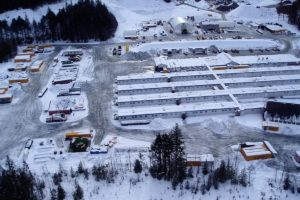 Construction camp for Toba Inlet run-of-river power project